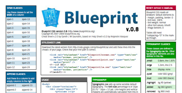 Mega collection of cheatsheets for designers developers blueprint css malvernweather Gallery