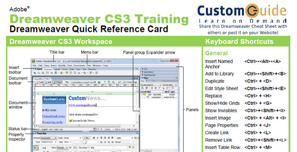 DreamWeaver CS3 Reference Card