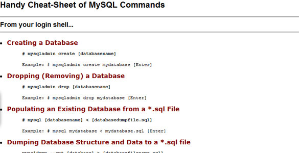 Handy Cheat Sheet of MySQL Commands