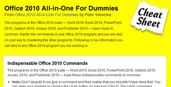 Office 2010 – all in one for dummies