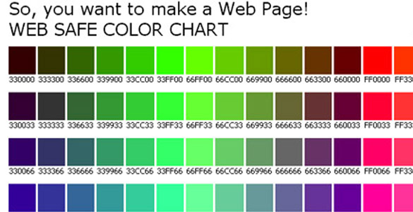 Web Safe Color Chart