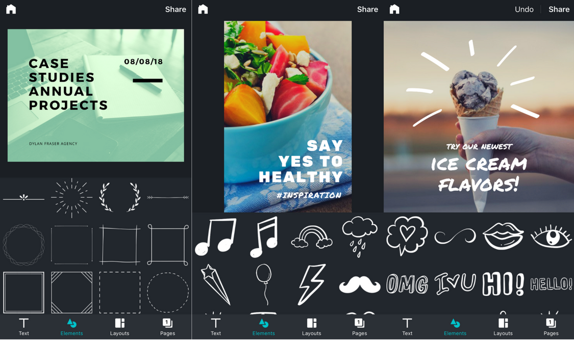 Graphic elements in Canva for iPhone