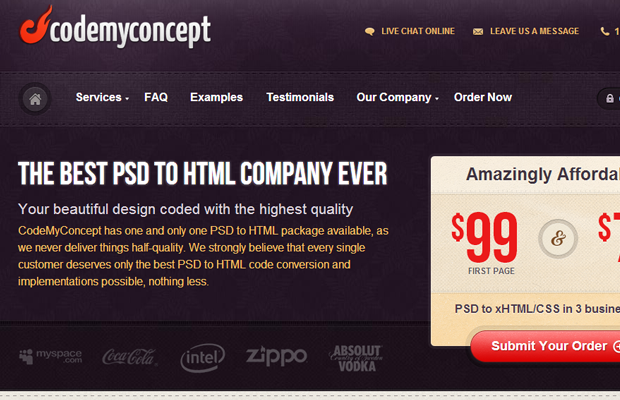 codemyconcept homepage website design psd to html coding