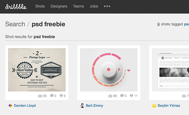dribbble freebies search results