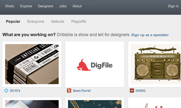 Dribbble home page design layout