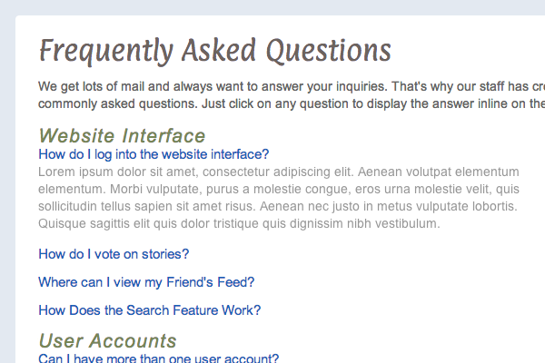 Code a Dynamic Questions & Answers FAQ Page with jQuery
