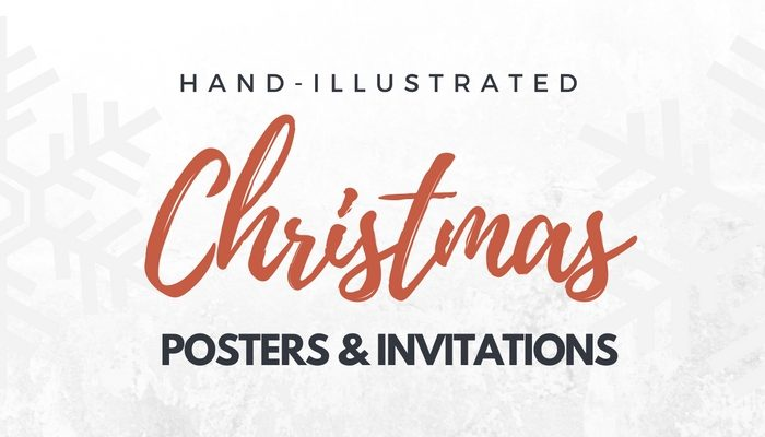 Hand illustrated Christmas invitations