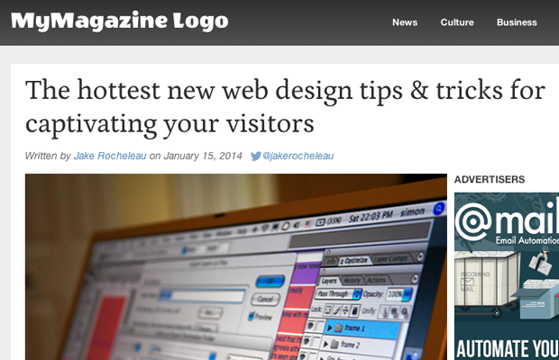 html5 css3 tutorial blog post magazine layout screenshot