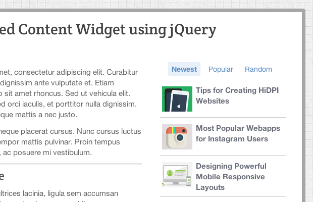ajax sidebar posts widget jquery tutorial screenshot