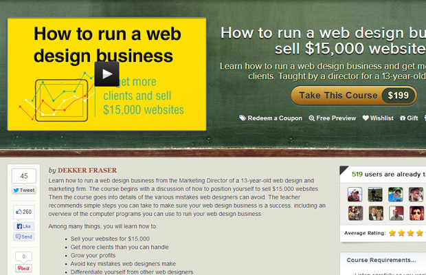 udemy course how to launch successful web design business