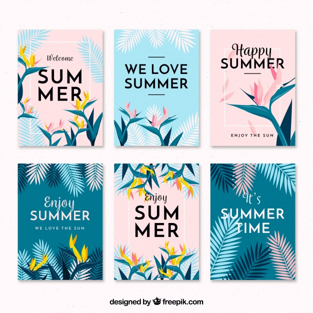 flat summer design elements