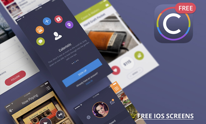 coloristic ui kit freebie ios colorful screens