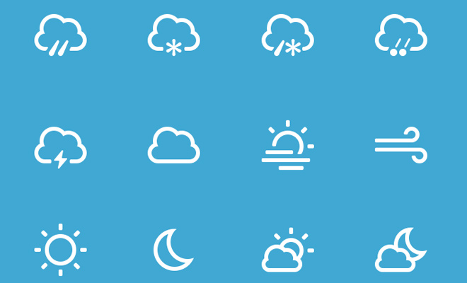 white line icons weather freebie thin design