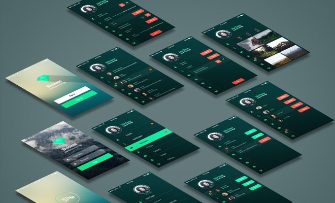 dark mobile app ui kit freebie download
