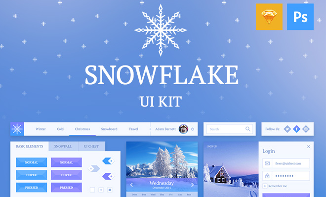 snowflake ui kit freebie