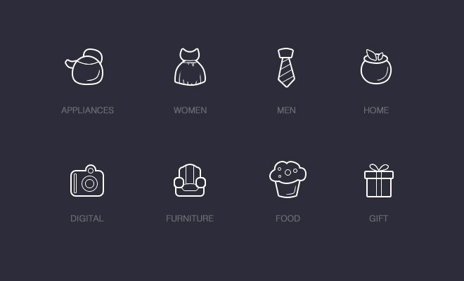 shopping outline icons categories