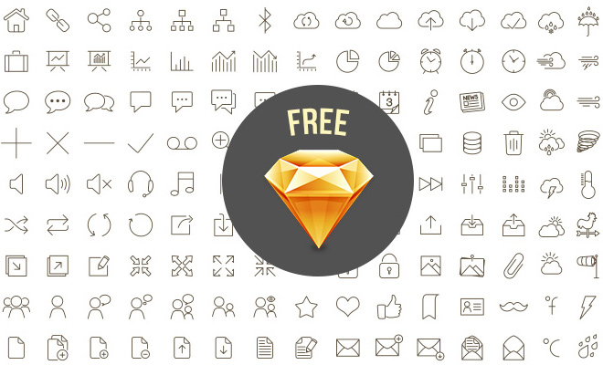 sketch dark line icons freebie set