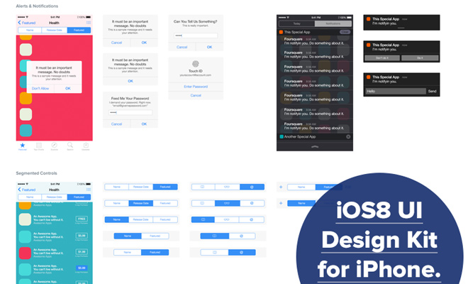 iphone ios8 freebie uikit psd sketch