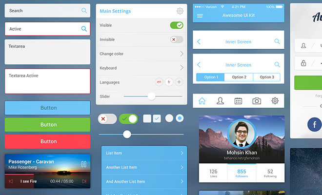 awesome ui kit freebie mobile