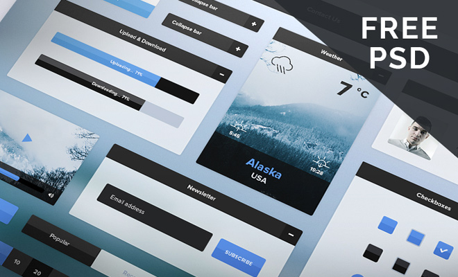 freebie blue winter ui kit psd