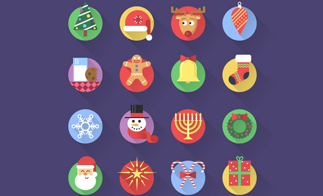 cheerful christmas circles iconset freebie
