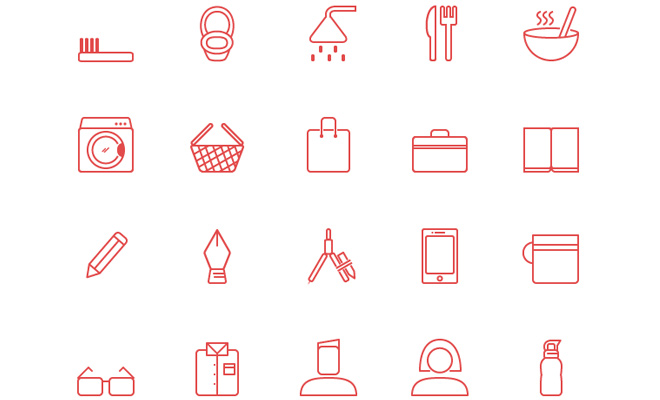 red outline lifestyle iconset freebie
