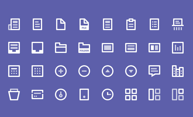 32 white simple line iconset freebie