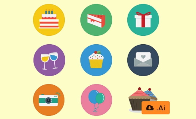 flat colorful birthday iconset