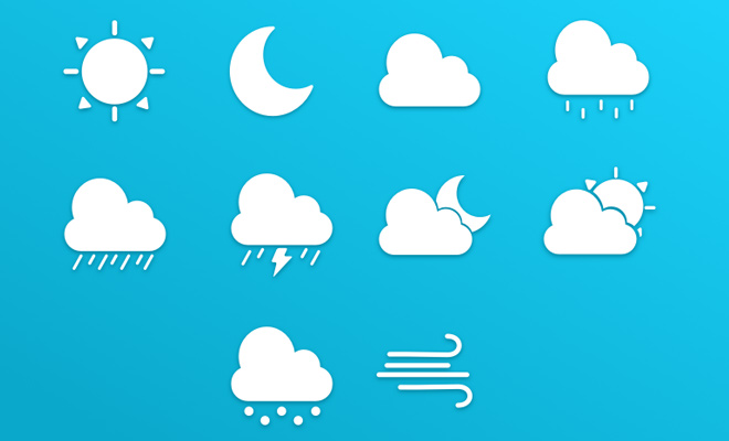 white weather iconset freebie pack