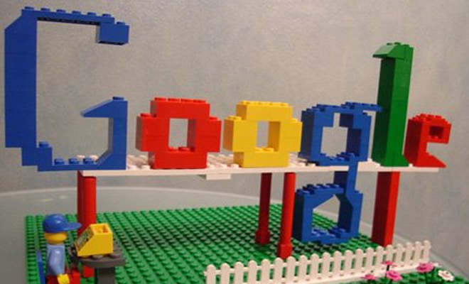 google logo created with lego blocks