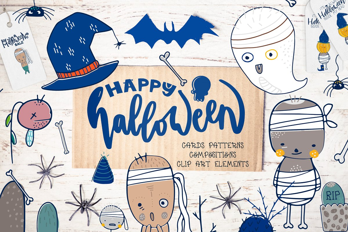 halloween design elements card images