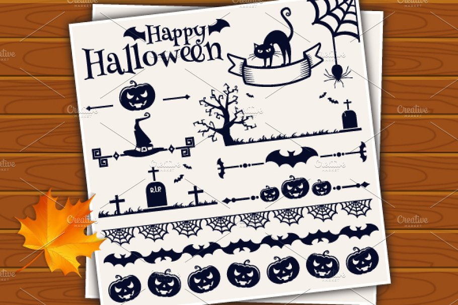 halloween vector designs monochrome
