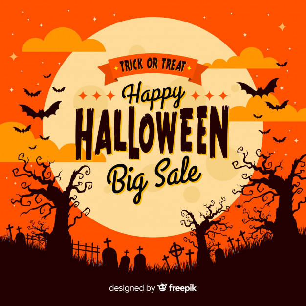 halloween sale background with moon