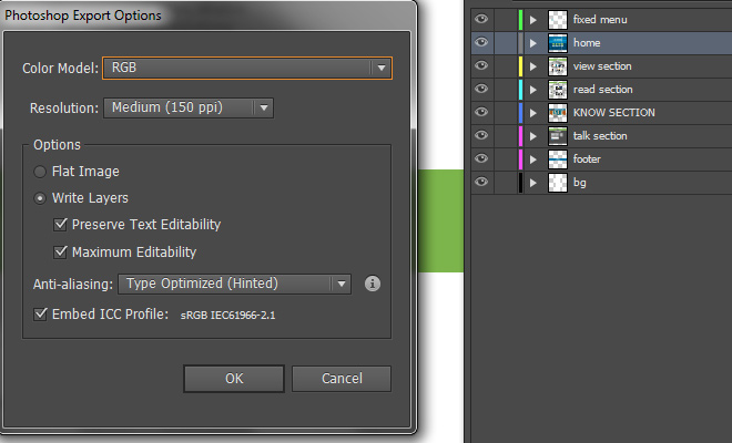 illustrator photoshop export layered psd