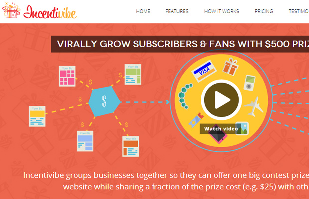 incentivibe homepage layout design webapp 2013