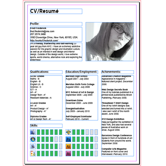 adobe indesign resume