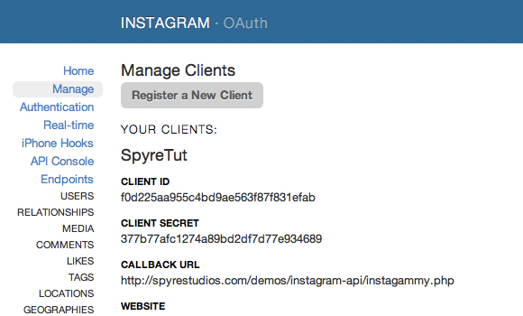Manage Instagram API Clients