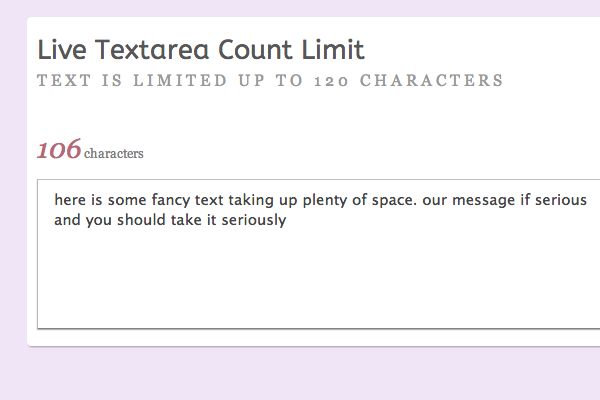 jquery-textarea-live-character-count-limit-demo