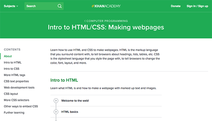 learn web development khan academy html css