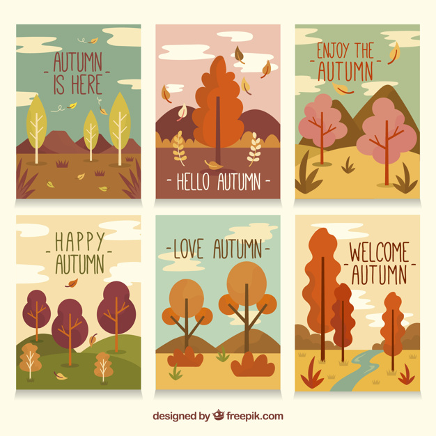autumn design elements card flat design