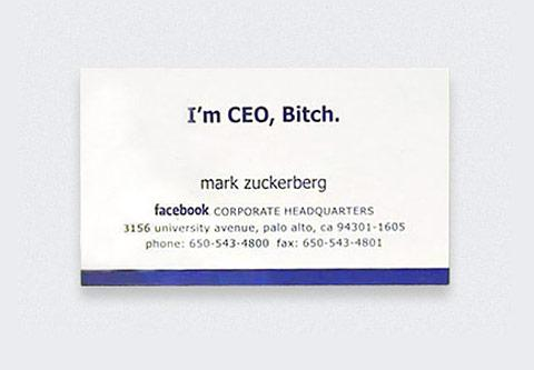 Top 10 famous business cards spyrestudios mark zuckerberg the creator of facebook has a simple yet humorous business card which makes it one of the best celebrity business cards simply because it colourmoves