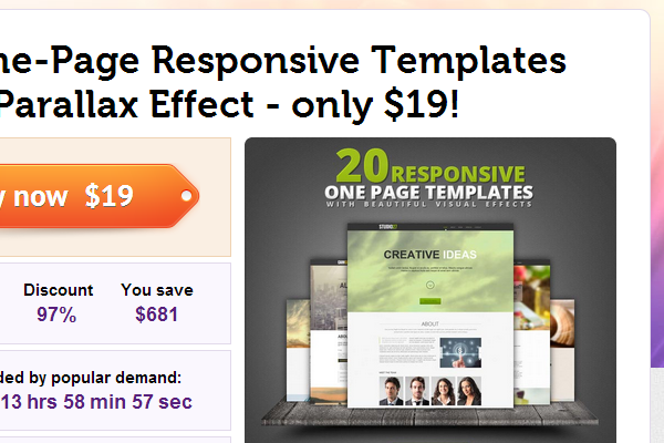 mightydeals purchase templates website html5 css3 parallax