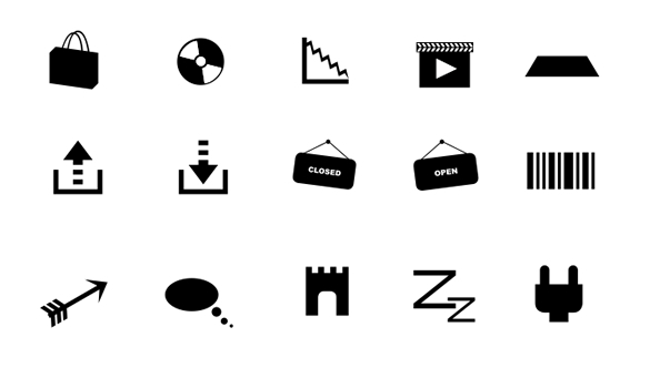 Monochrome Symbols Icon Set - Part 5