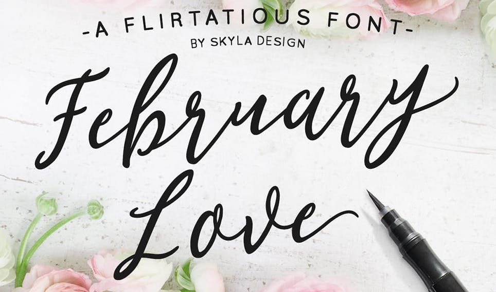 As A More Traditional Script Font This Handwritten Communicates Old Fashioned Ideas Of Love Femininity And Romance
