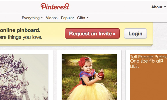 Pinterest Register Invite and Login buttons