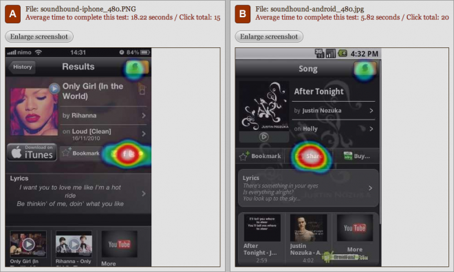 Soundhound app - Android vs iOS sharing comparison