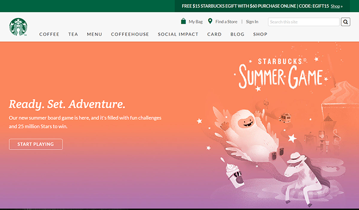 summer website themes starbucks