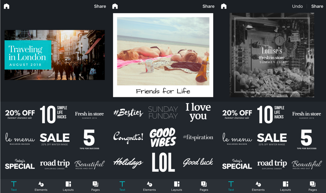 Text styles on Canva for iPhone
