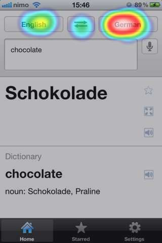 Google Translate - iOS - Heatmap