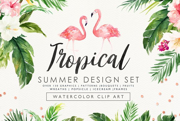 floral watercolor summer design elements